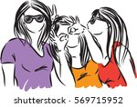 happy girls friends illustration | Shutterstock .eps vector #569715952
