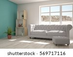 white room with sofa and winter ... | Shutterstock . vector #569717116