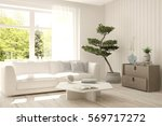 white room with sofa and green... | Shutterstock . vector #569717272