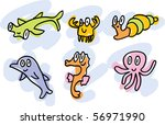 sea-life doodles: hummer-shark, crab, snail, dolphin, sea-horse, octopus