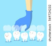 cartoon doctor hand is picking...   Shutterstock .eps vector #569724232