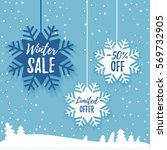 winter sale promo poster ads.... | Shutterstock .eps vector #569732905