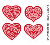 set hand drawn hearts on white... | Shutterstock .eps vector #569733646