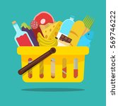 shopping basket with food and...   Shutterstock .eps vector #569746222