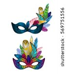 gold carnival mask collection... | Shutterstock .eps vector #569751556