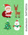christmas tree  santa claus ... | Shutterstock .eps vector #569760316