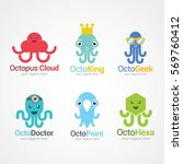 set of octopus logo design... | Shutterstock .eps vector #569760412