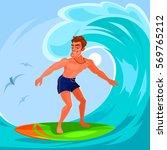 illustration of a surfer   Shutterstock . vector #569765212