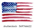 grunge american flag.watercolor ... | Shutterstock .eps vector #569766622
