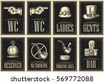 set signboard. pointing finger. ... | Shutterstock .eps vector #569772088