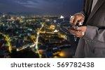 Business Man Using Screen Mobile - Fine Art prints