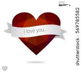 orange heart isolated on white... | Shutterstock .eps vector #569785582