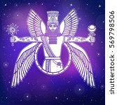 ancient assyrian winged deity.... | Shutterstock .eps vector #569798506