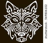hand drawn wolf head stylized... | Shutterstock .eps vector #569806102