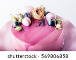 trendy mousse cake with pink... | Shutterstock . vector #569806858