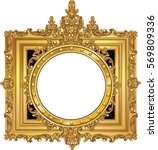 round photo frame  metal gold ... | Shutterstock .eps vector #569809336