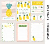 set of hand drawn pineapple... | Shutterstock .eps vector #569815435