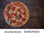 pizza and different ingredients ...   Shutterstock . vector #569839405