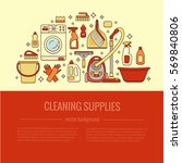 household cleaning supplies... | Shutterstock .eps vector #569840806