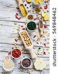 superfood and healthy food on... | Shutterstock . vector #569848462