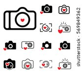 digital camera and heart icons... | Shutterstock .eps vector #569849362