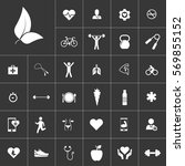 leaves. health icon set on gray ...
