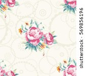 seamless floral pattern with... | Shutterstock .eps vector #569856196