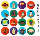 spain country set icons in flat ... | Shutterstock .eps vector #569857342