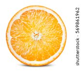 Small photo of Orange fruit. Round orang slice isolate on white. With clipping path.
