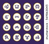 vacation web icons set | Shutterstock .eps vector #569863045
