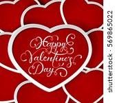 valentines background with red... | Shutterstock . vector #569865022