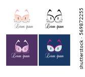 lingerie store logo. cat logo.... | Shutterstock .eps vector #569872255