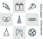 set of 9 new year icons.... | Shutterstock .eps vector #569872426