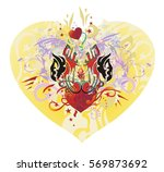 ornate eagle heart. the heads... | Shutterstock .eps vector #569873692