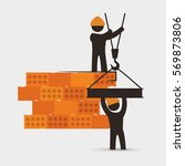 men construction brick wall... | Shutterstock .eps vector #569873806