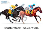 Stock vector three racing horses competing with each other with motion blur to accent speed vector 569875906