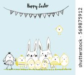 cute card with hand drawn... | Shutterstock .eps vector #569875912