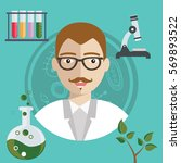 biologist working with plant... | Shutterstock .eps vector #569893522