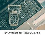 blank   empty shopping cart on... | Shutterstock . vector #569905756