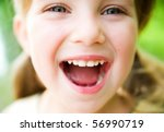 portrait of a happy liitle girl ... | Shutterstock . vector #56990719