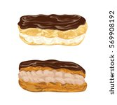set of eclairs with praline and ... | Shutterstock .eps vector #569908192