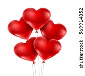 red heart balloons isolated on... | Shutterstock .eps vector #569914852