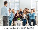 speaker at business meeting in... | Shutterstock . vector #569916052