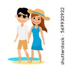 young guy and girl walking on... | Shutterstock .eps vector #569930932