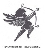 vector cupid silhouette with... | Shutterstock .eps vector #569938552