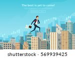 businessman walking up the... | Shutterstock .eps vector #569939425
