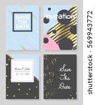 set of romantic abstract cards. ... | Shutterstock .eps vector #569943772