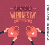 flat style valentines day sale... | Shutterstock .eps vector #569944816