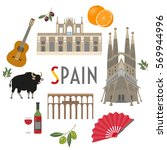 spain travel and culture | Shutterstock .eps vector #569944996