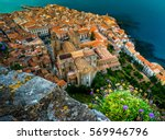areal view of cefalu  italy.... | Shutterstock . vector #569946796